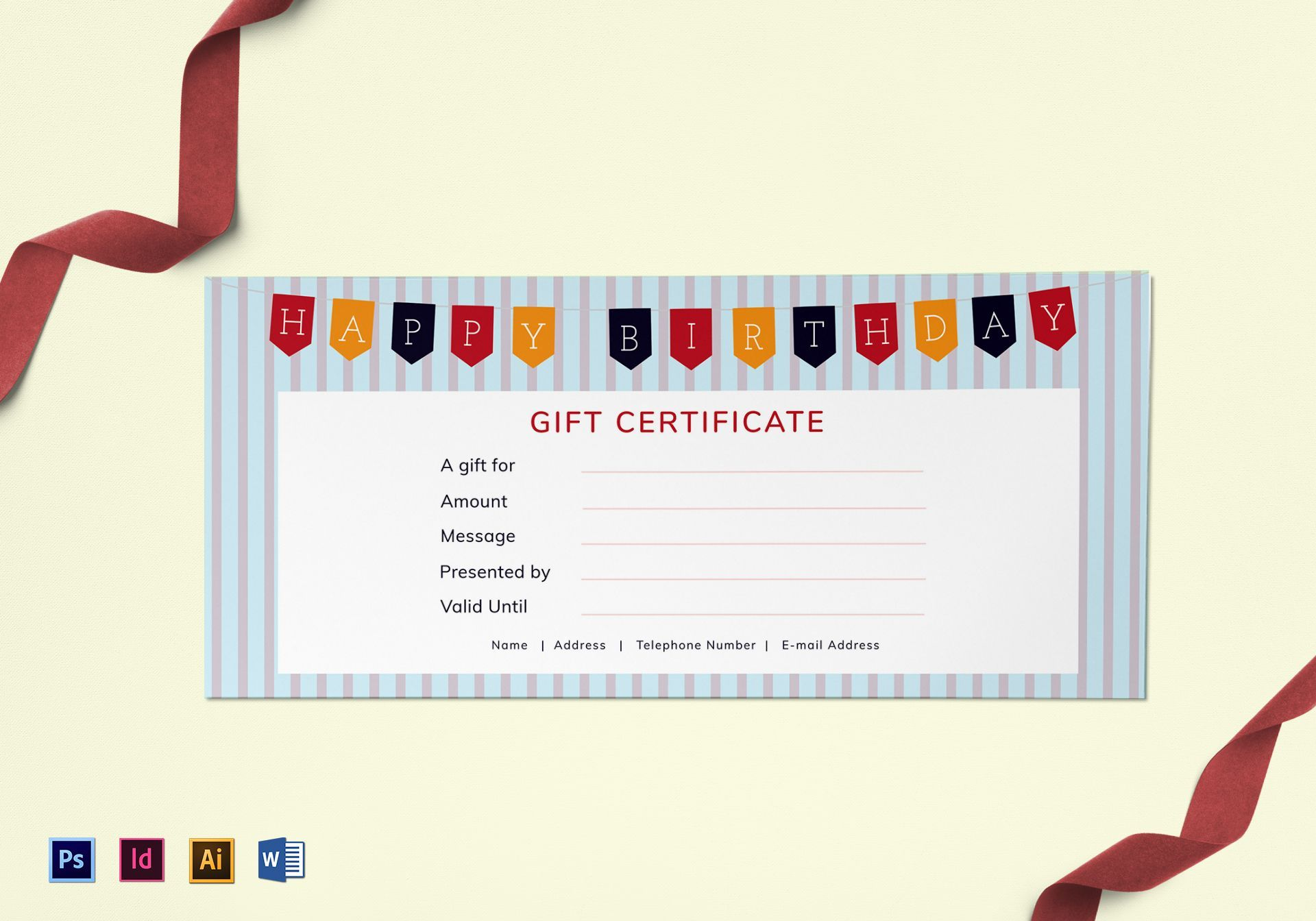 Happy Birthday Gift Certificate Template with Indesign