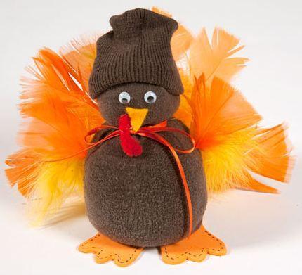 Thanksgiving Sock Turkey Eco-friendly Craft for Kids http://planetforward.ca/blog/thanksgiving-sock-turkey-eco-friendly-craft-for-kids/