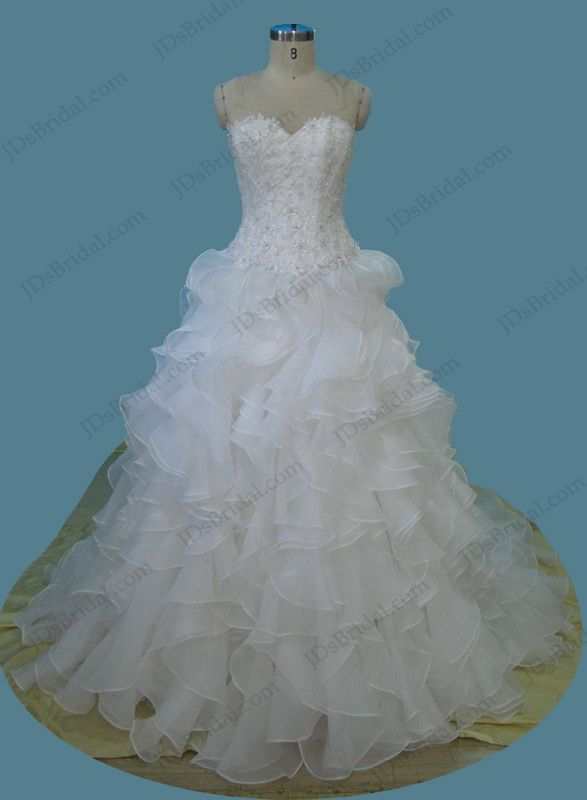Sweetheart neck lace bodice ruffles organza ball gown wedding dress ...