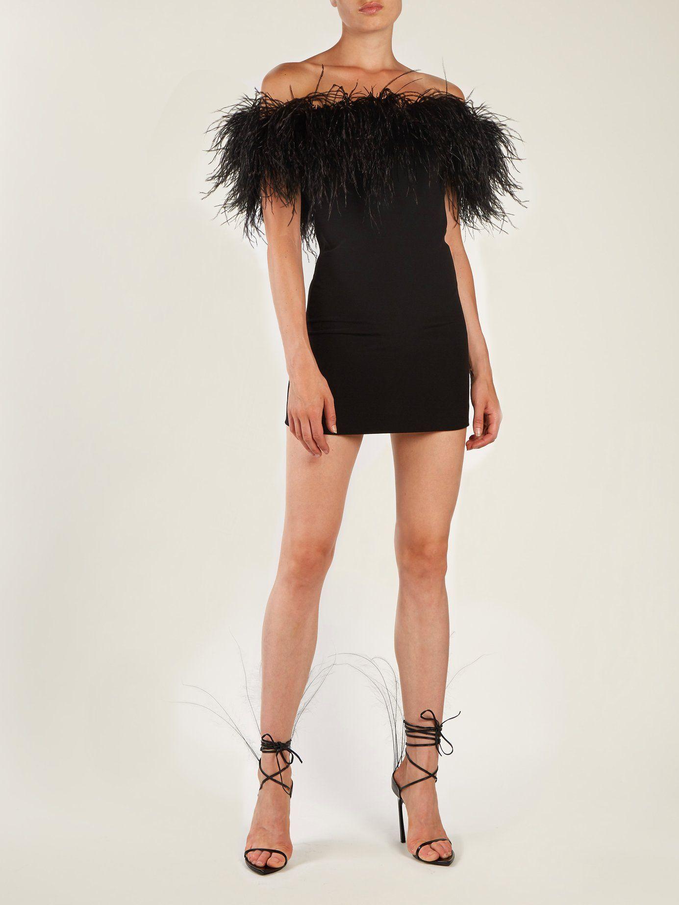 Off The Shoulder Ostrich Feather Trimmed Dress Saint Laurent Matchesfashion Com Us Feather Dress Short Feather Outfit Feather Dress [ 1846 x 1385 Pixel ]