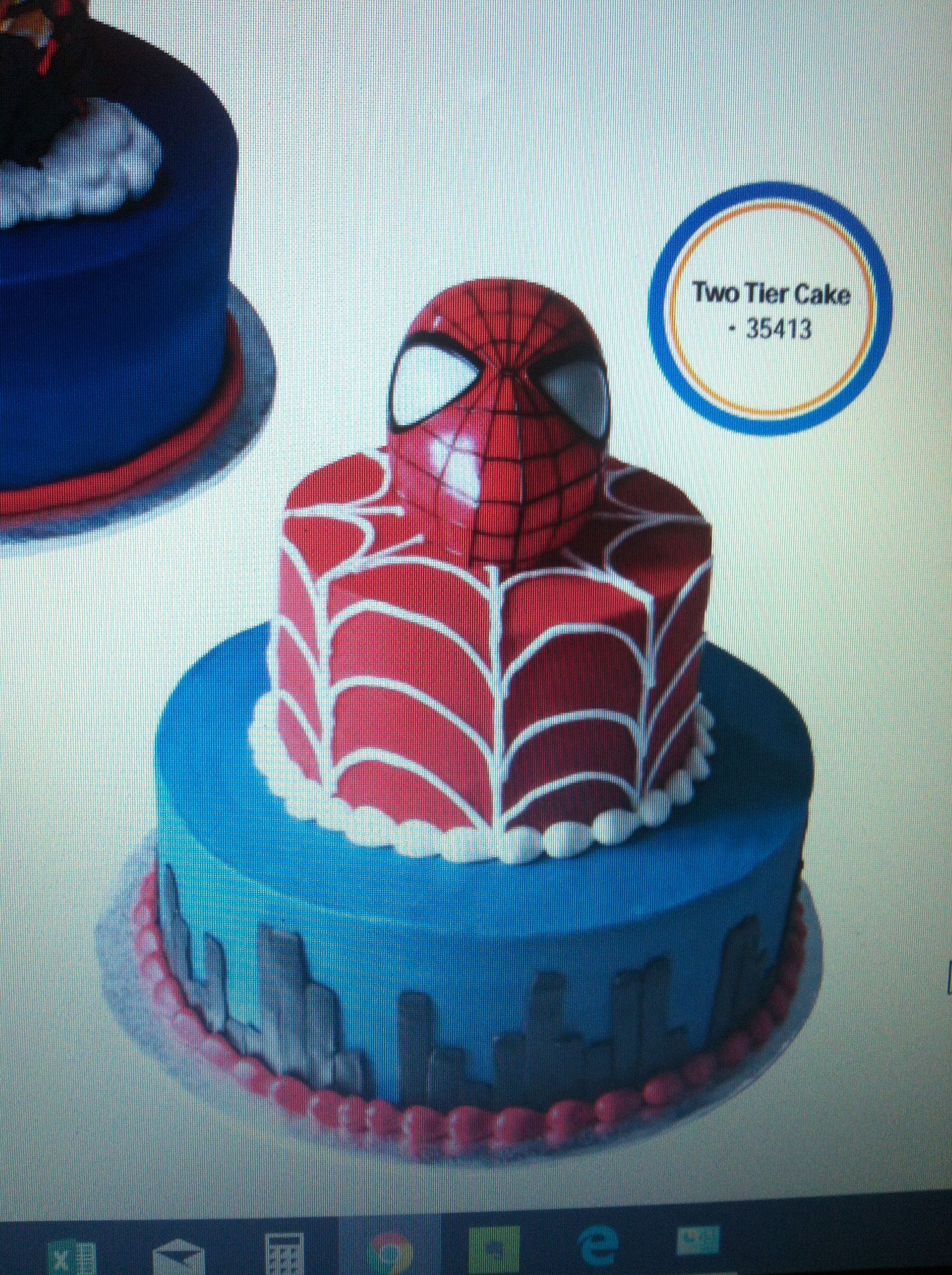 Two Tired Cake From Walmart Spiderman Great Colors Just Add