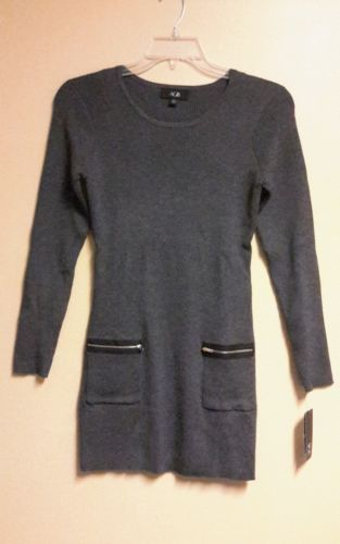 NWT AGB JUNIORS RIBBED ZIPPER POCKET TUNIC CHARCOAL SIZE LARGE