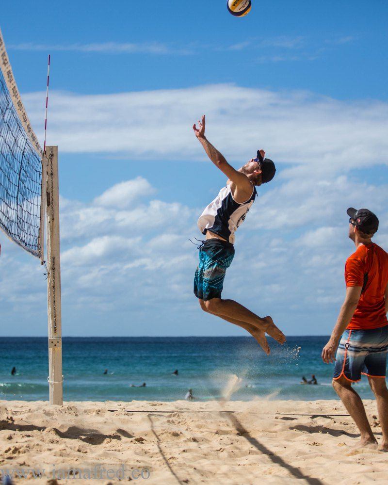 Mens Beach Volleyball The Feint Or The Spike Beach Volleyball Beach Volleyball Court Volleyball Pictures
