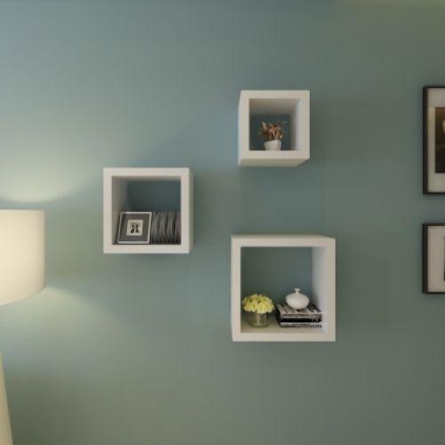 Cube Shelf Set Of 3 White Floating Cube Shelves Cube Shelves Wall Cubes