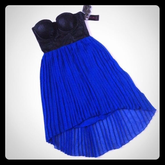 Nwt Material Girl Xs Bustier Blue High Low Strapless Pleated Dress