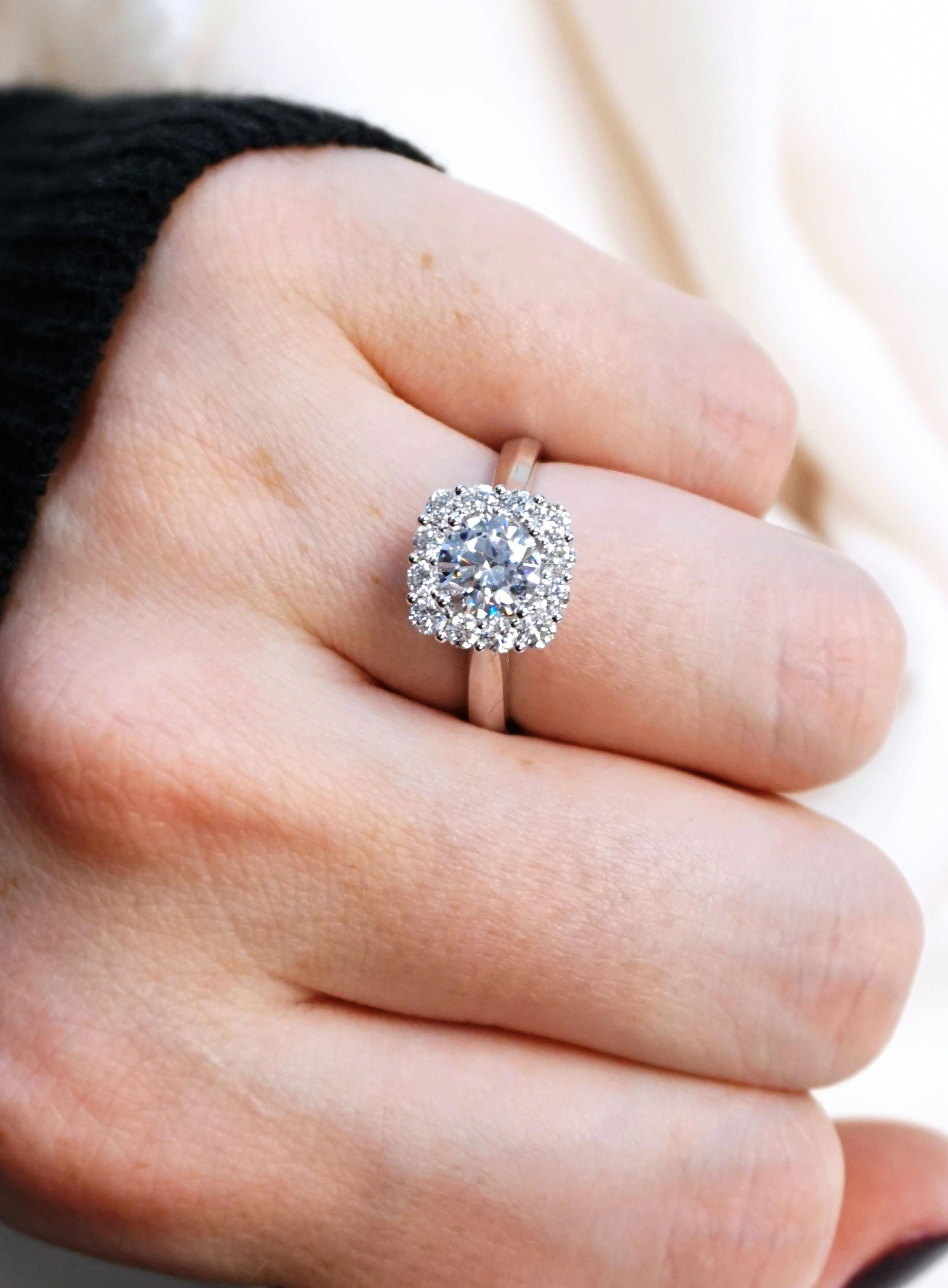Gorgeous Floral Inspired Halo Diamond Engagement Ring Joseph