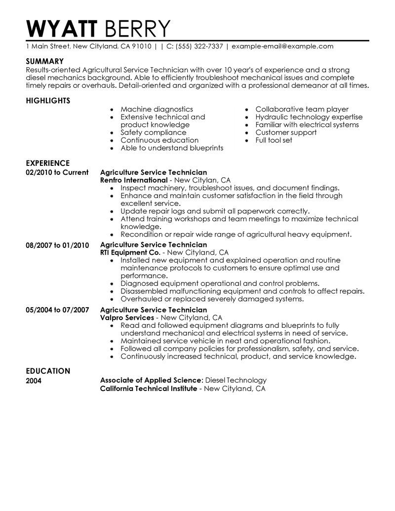 Professional Resume Example Maintenance Service Technician Resume  Httptopresume