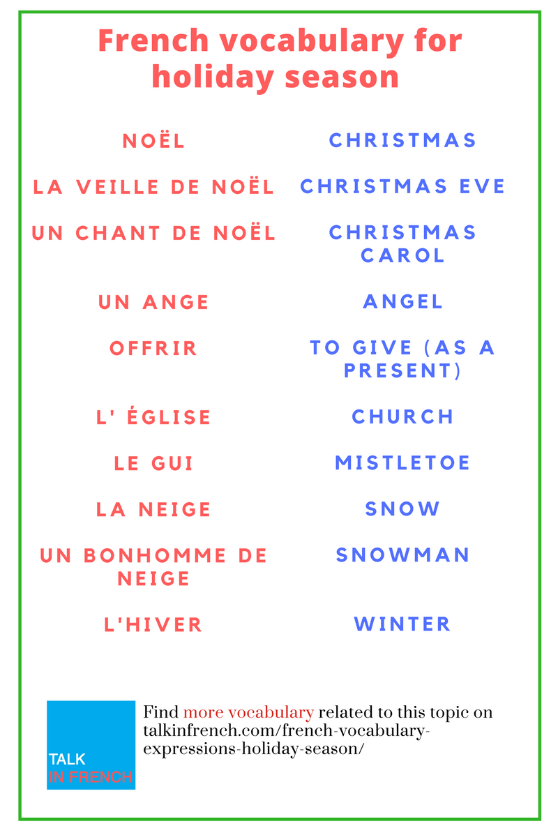 54 Useful French Vocabulary And Expressions For The Holiday Season