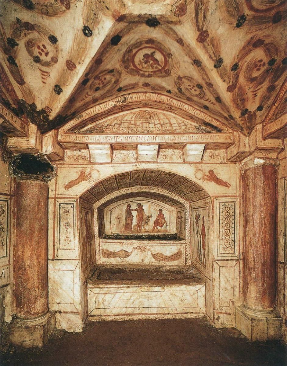 Catacombs of the via latina rome 300s ad view from a cubiculum underground christian shrine within the via latina catacombs of rome biocorpaavc