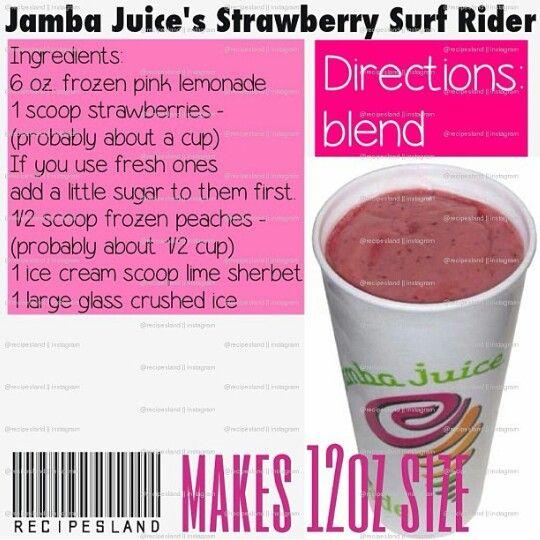 Jamba Juice Strawberry Surf Rider Jamba Juice Recipes Jamba Juice Basic Smoothie Recipe