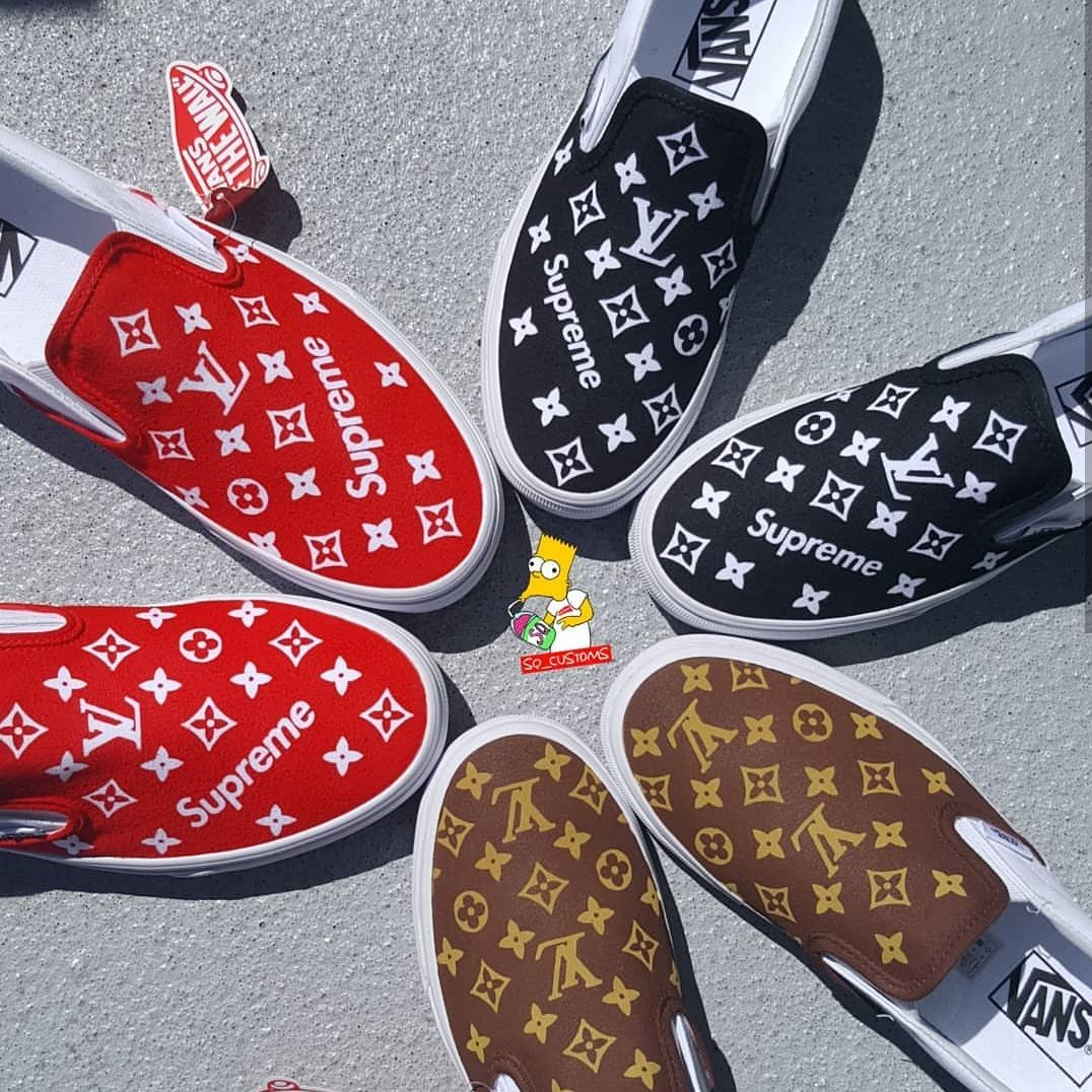 dc735f01b4c99b Custom LV Supreme Vans Slip On