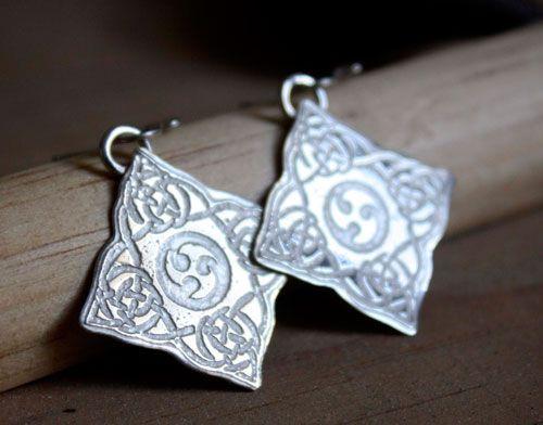 Odin earrings, scandinavian celtic jewelry of Odin horns in sterling silver