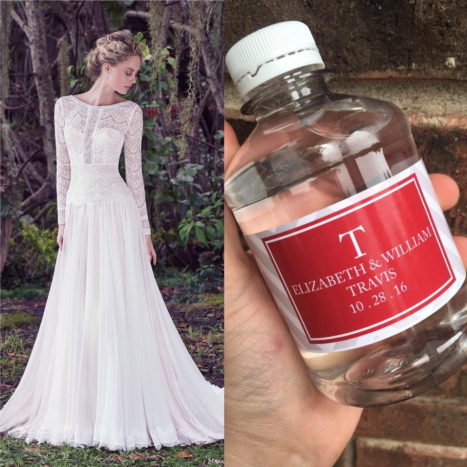 Wedding dress cups  Beautiful water and gown pairing myweddingwater maggiesottero