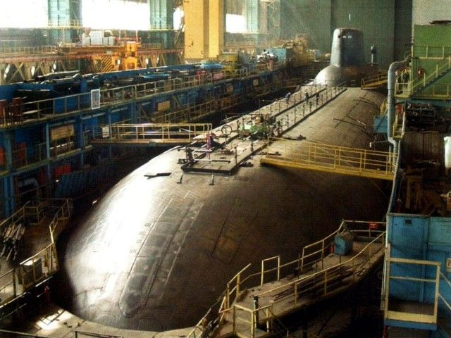 A Russian Typhoon class submarine in dry dock during its construction.