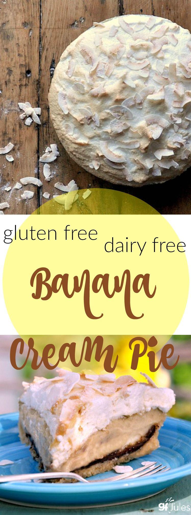 Gluten Free Dairy Free Banana Cream Pie | gfJules.com