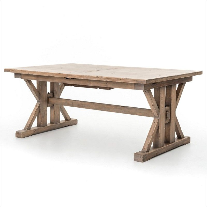 Four Hands Tuscan Spring Trestle Wood Dining Table With Extension Leaf In  Sundried Wheat