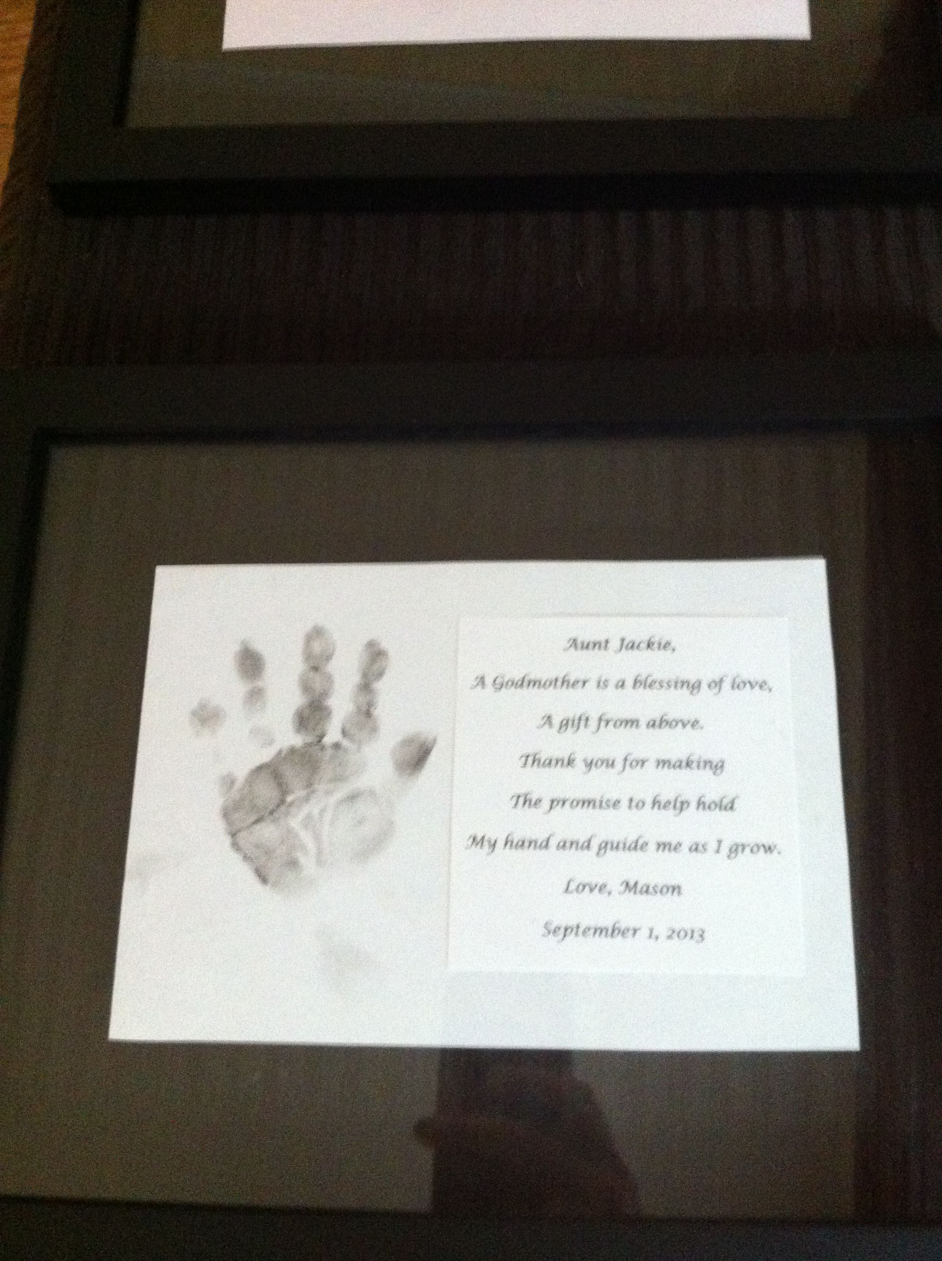 God parent gift, handprint in black shadow box frame | Masons ...