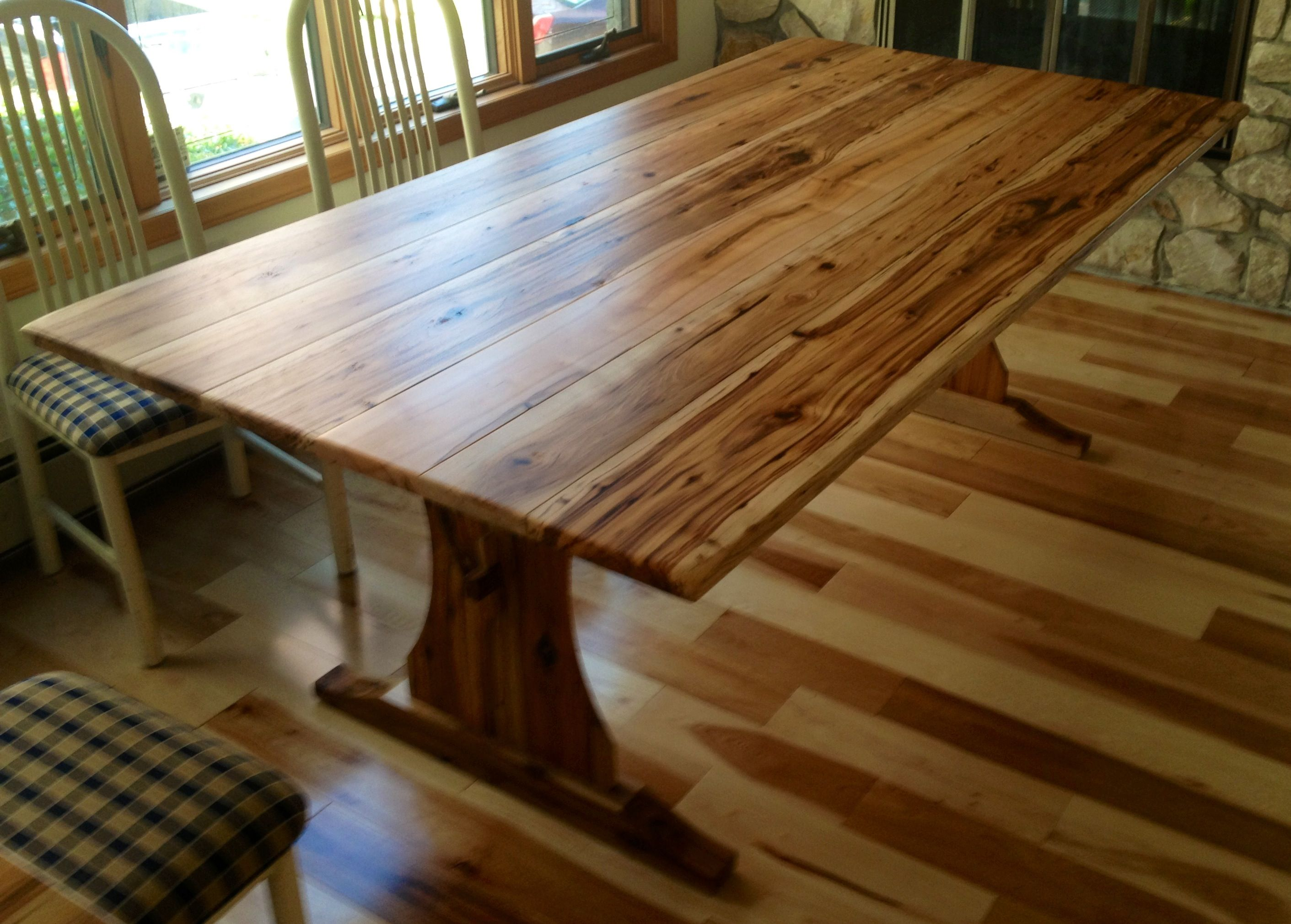 Beau Custom Antique Hickory Table With A Trestle Base