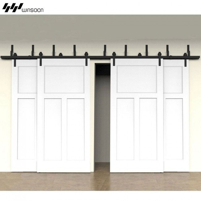 Winsoon Modern 4 Doors Bypass Sliding Barn Door Hardware Track Kit 5 16ft Bent Bypass Barn Door Barn Doors Sliding Barn Door Track