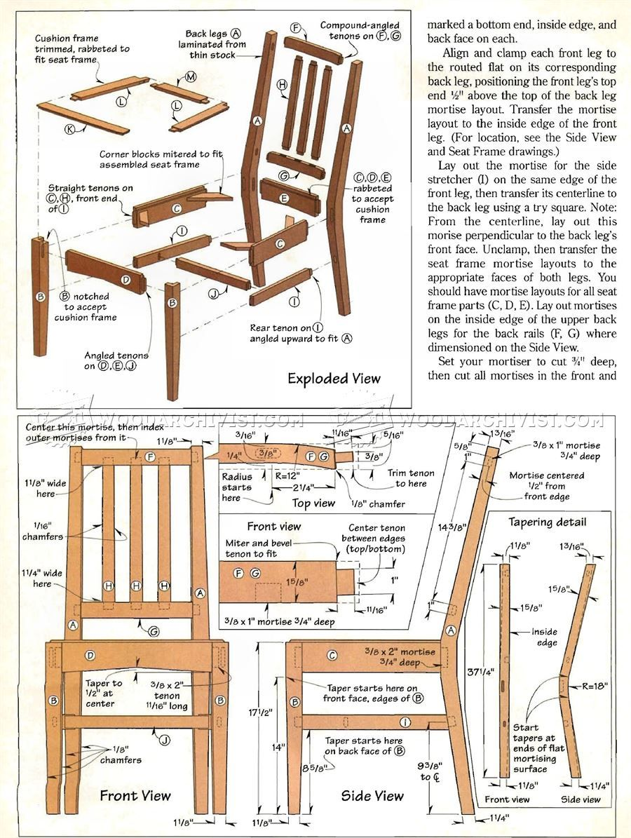 587 Contemporary Dining Chair Plans - Furniture Plans and Projects ...