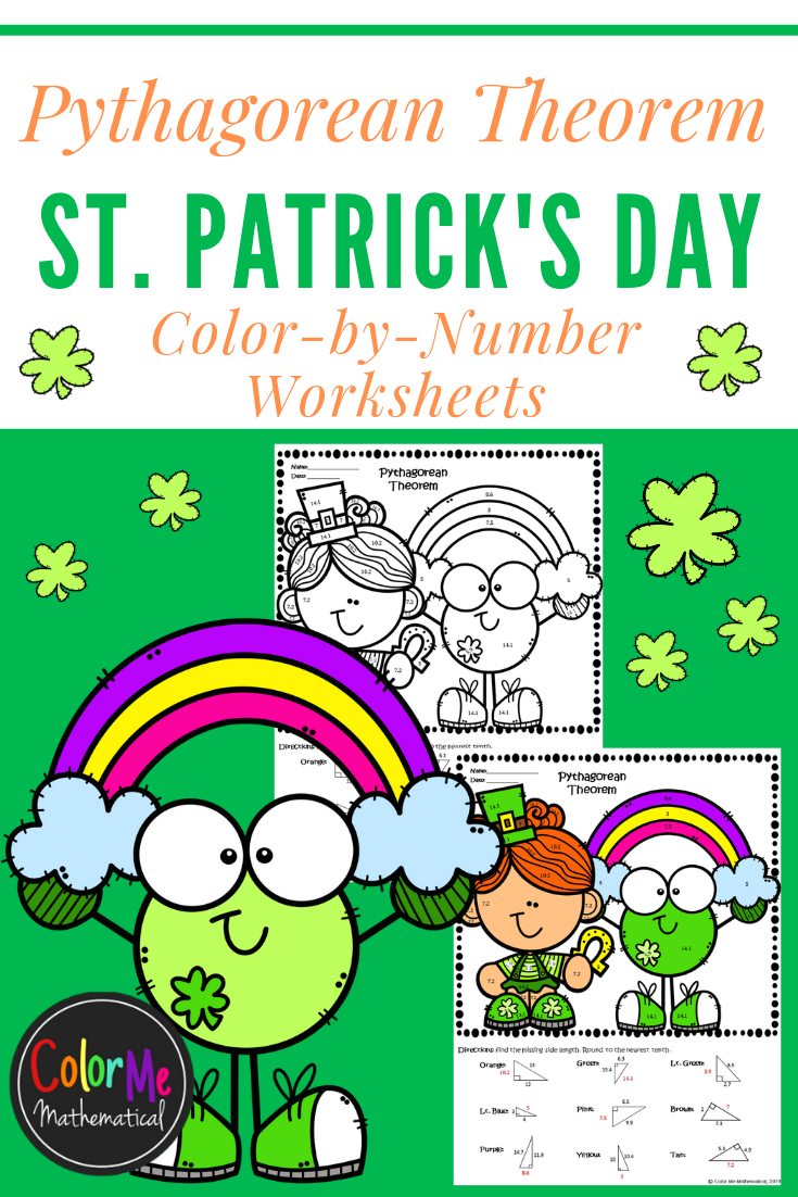 Pythagorean Theorem St. Patrick's Day ColorbyNumber