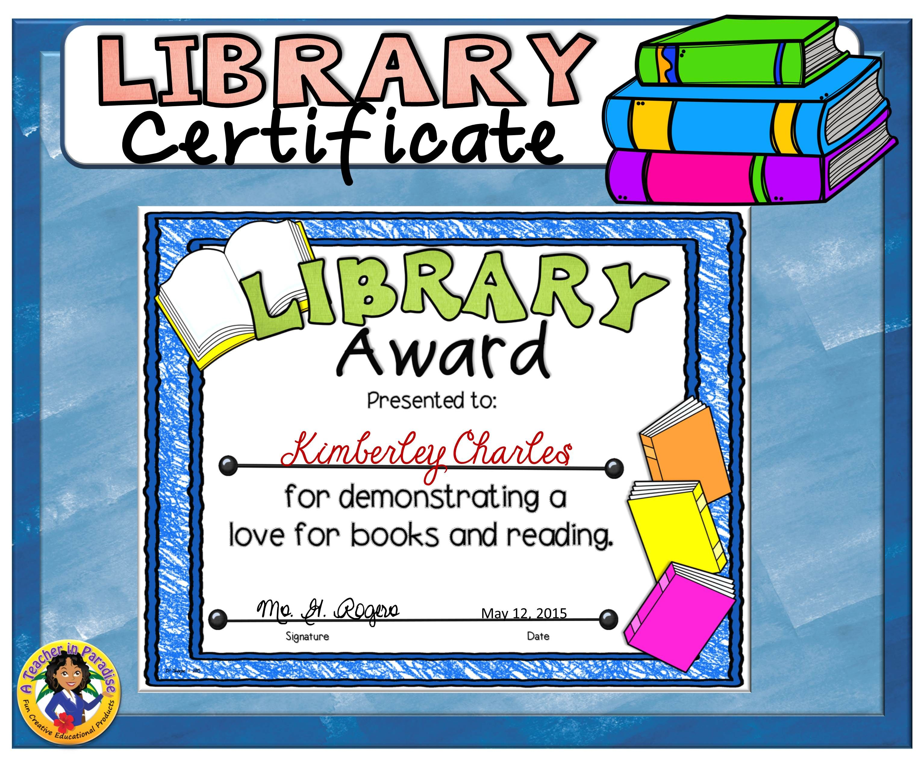 Library Certificate 2 Library Skills Library Certificate