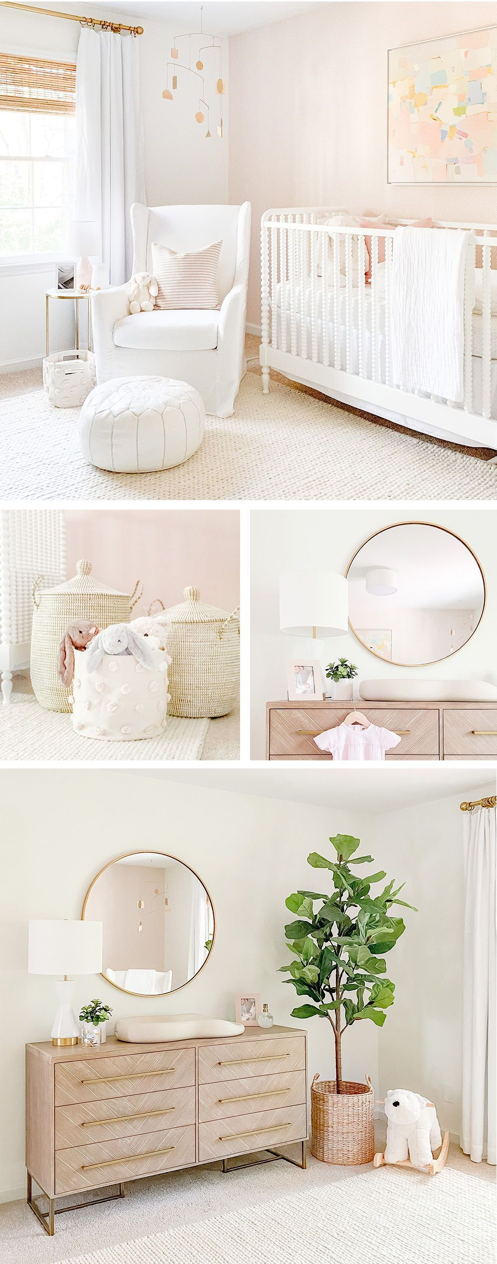 The nursery is my favorite room in our home. It's the perfect balance of neutral and blush. I think it is the perfect amount of
