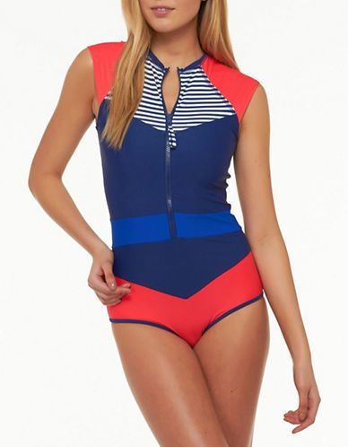 ec9df5a8b53 Shop for Nautical Cap Sleeve One-Piece Swimsuit by Body Glove at ShopStyle.  Now for Sold Out.
