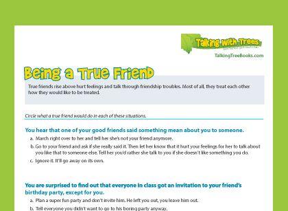 Being a True Friend Worksheet - Teach children to treat friends ...