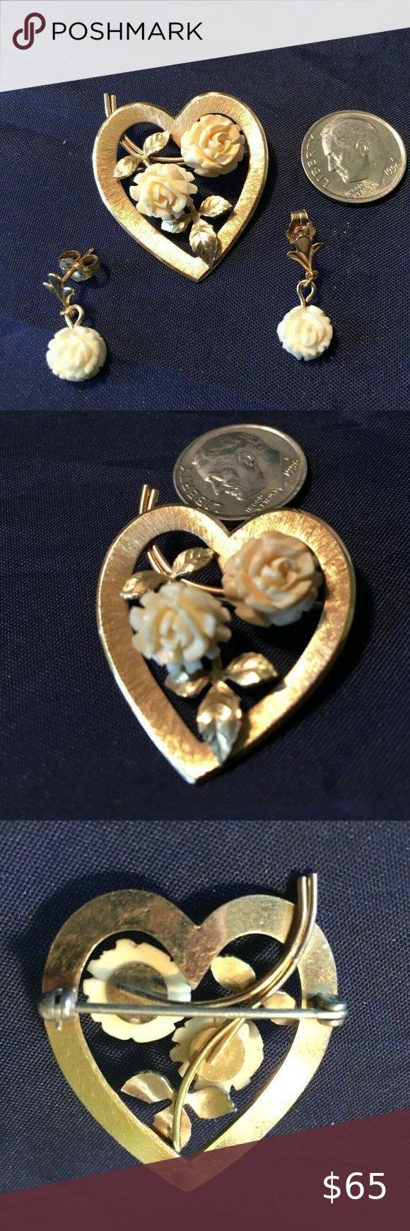 Vtg KREMENTZ bone Flower in Gold Heart Set Vtg KREMENTZ bone Faux Ivory Flower i…