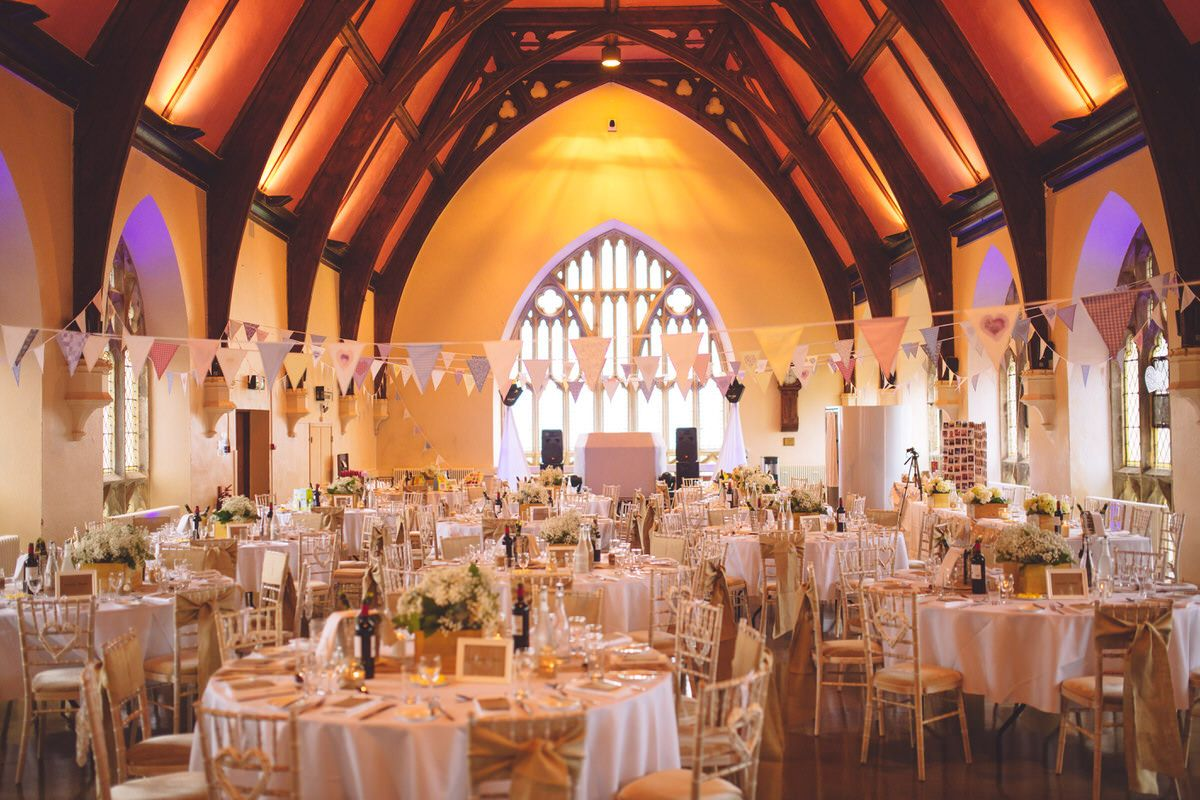 Clifton college hall wedding decoration bunting and gold