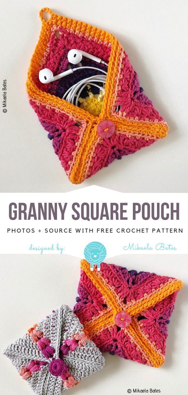 Granny Square Pouch Free Crochet PatternClever idea! Turn any crochet square into lovely pouch.