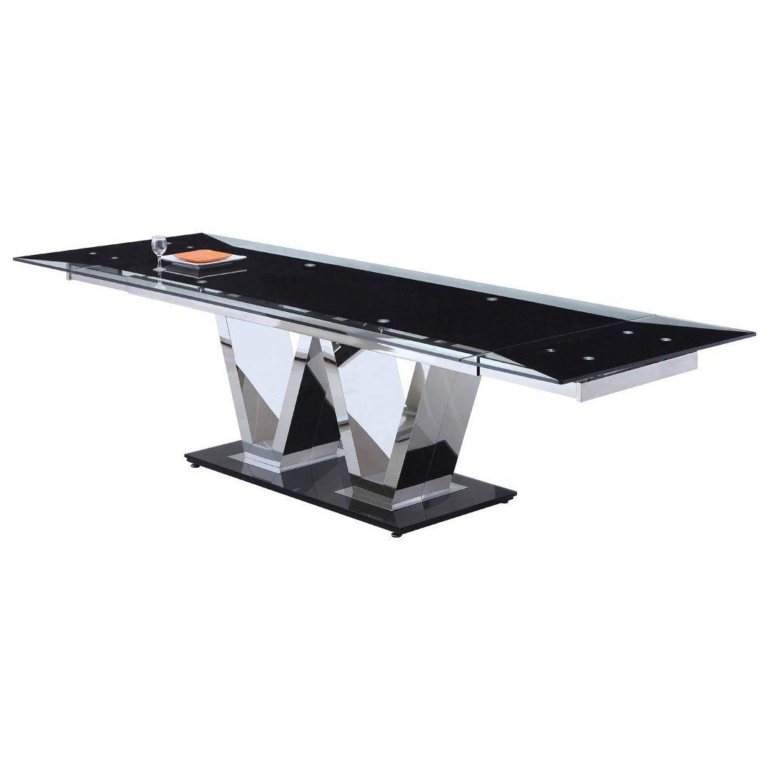 neo esstisch ausziehbar auf b 290 cm glas transparent k che haushalt. Black Bedroom Furniture Sets. Home Design Ideas