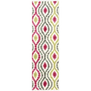 Waverly Aura Flora Ikat Jazzberry Runner Rug (2'3 x 7'6)