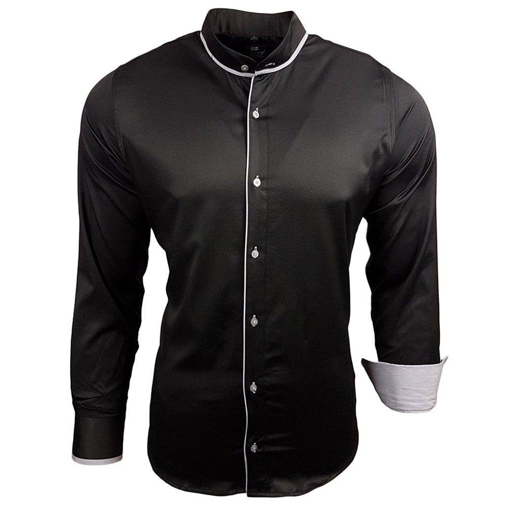 Overhemd Zonder Kraag.Herenoverhemd Zwart Zonder Kraag Overhemden Voor Heren Pinterest