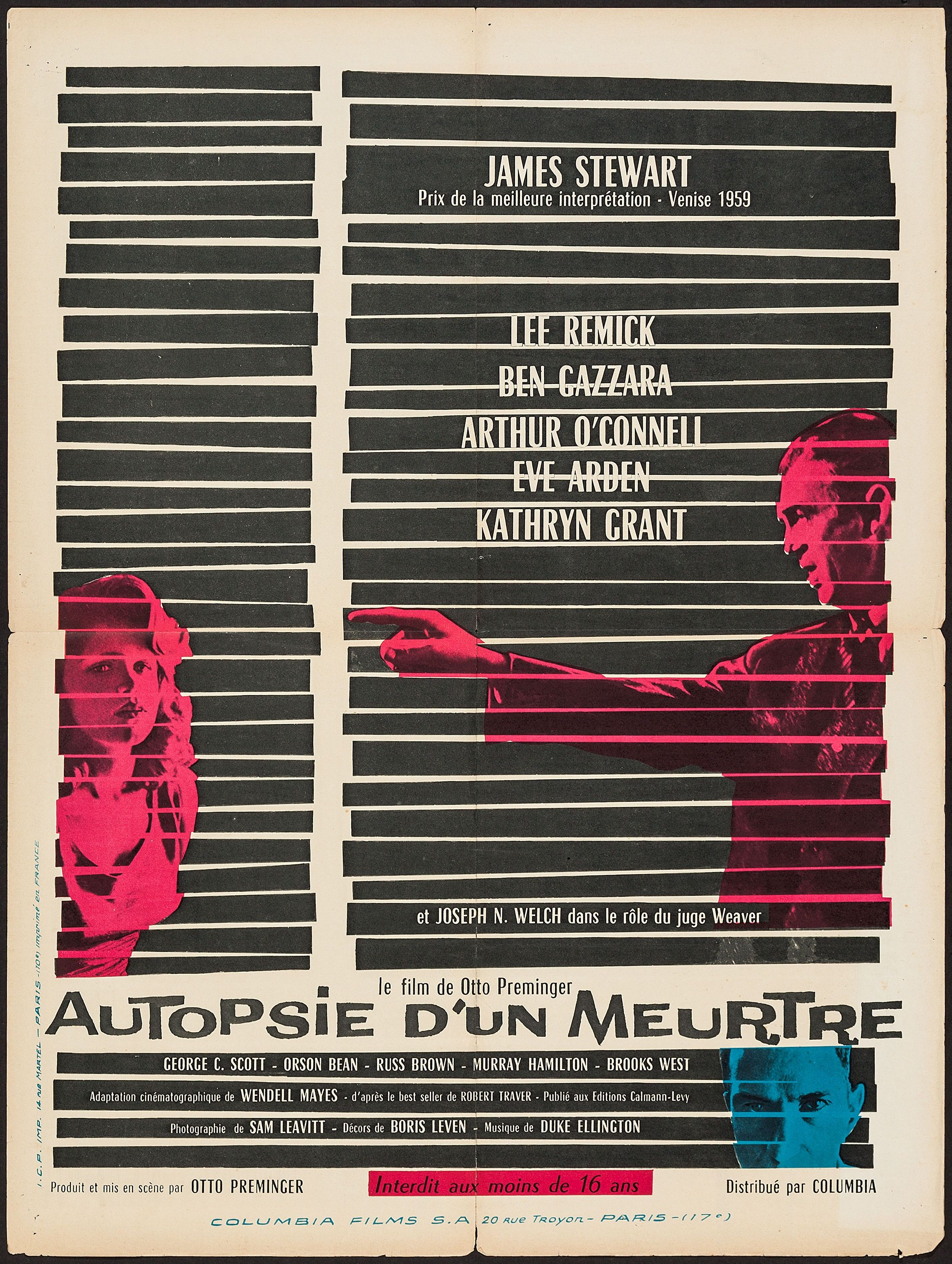Anatomy of a Murder (Otto Preminger, 1959) French design | Film ...