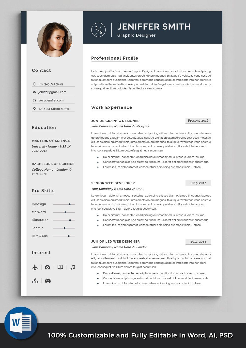2 Page Professional Modern Resume Cv Template To Help You Land
