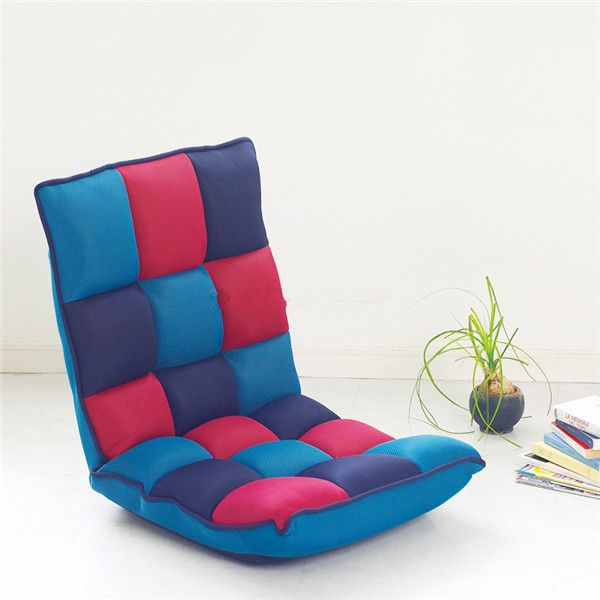 Charming Floor Portable Chair Japanese Living Room Furniture W/5 Adjustable Foldable  Upholstered Fabric Lazy Comfy