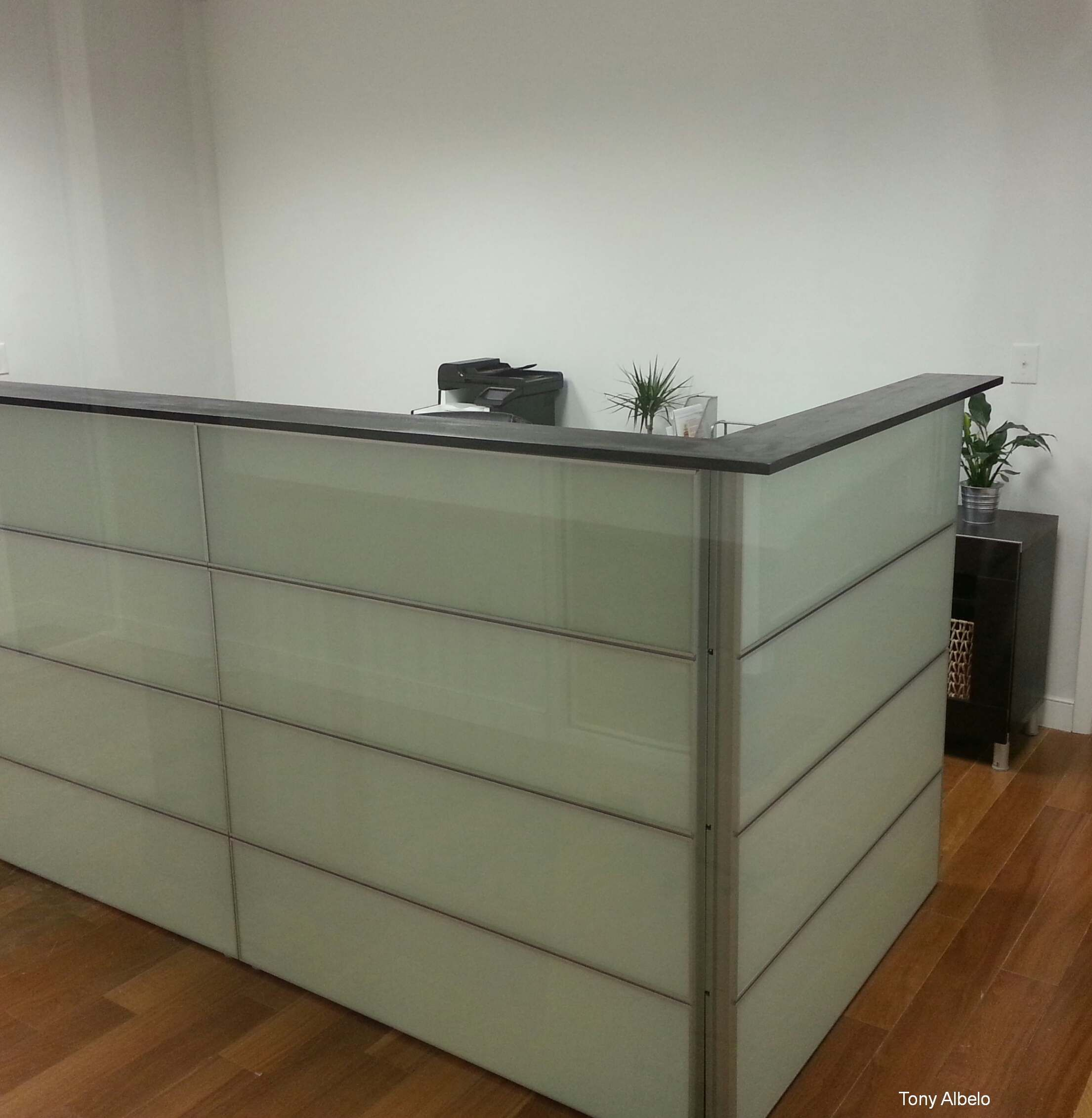 Ikea Hack Converted 12 Framsta Panels Into Reception Counter Wood Top Is 8 Pine Painted To Ma Ikea Reception Desk Office Design Inspo Medical Office Design