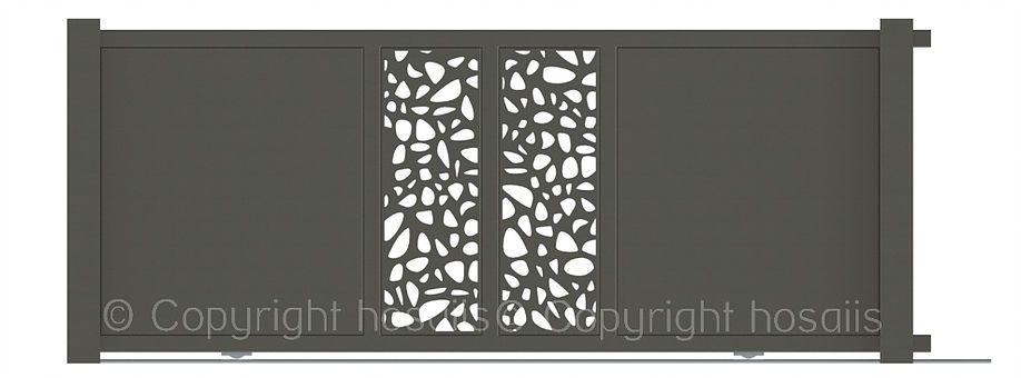 hosaiis portail coulissant rail d coupe laser design motif. Black Bedroom Furniture Sets. Home Design Ideas