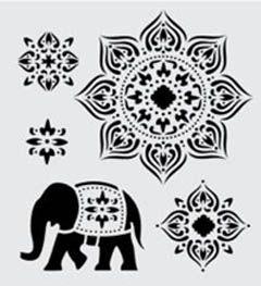Stencil Sheet Plaid ALIBABA Arabian Designs Elephants Borders 8.5 x 9.5 inches