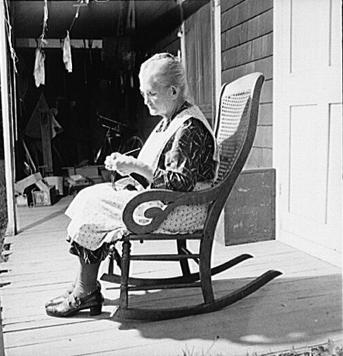 Old Lady In Rocking Chair Image