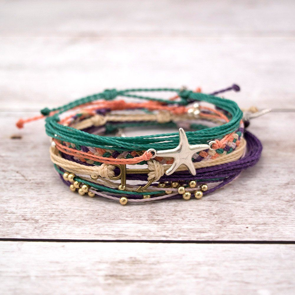 Photo of Waterproof Mermaid Surfer Bracelet Set, Stacking Boho Anchor Starfish Bracelet Set, Waxed Cord Bracelet Pack