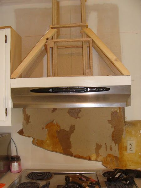 Perfect Framing A Wood Range Hood Vent Cover   Crown Mantle Hood Kitchen Post Here  About An