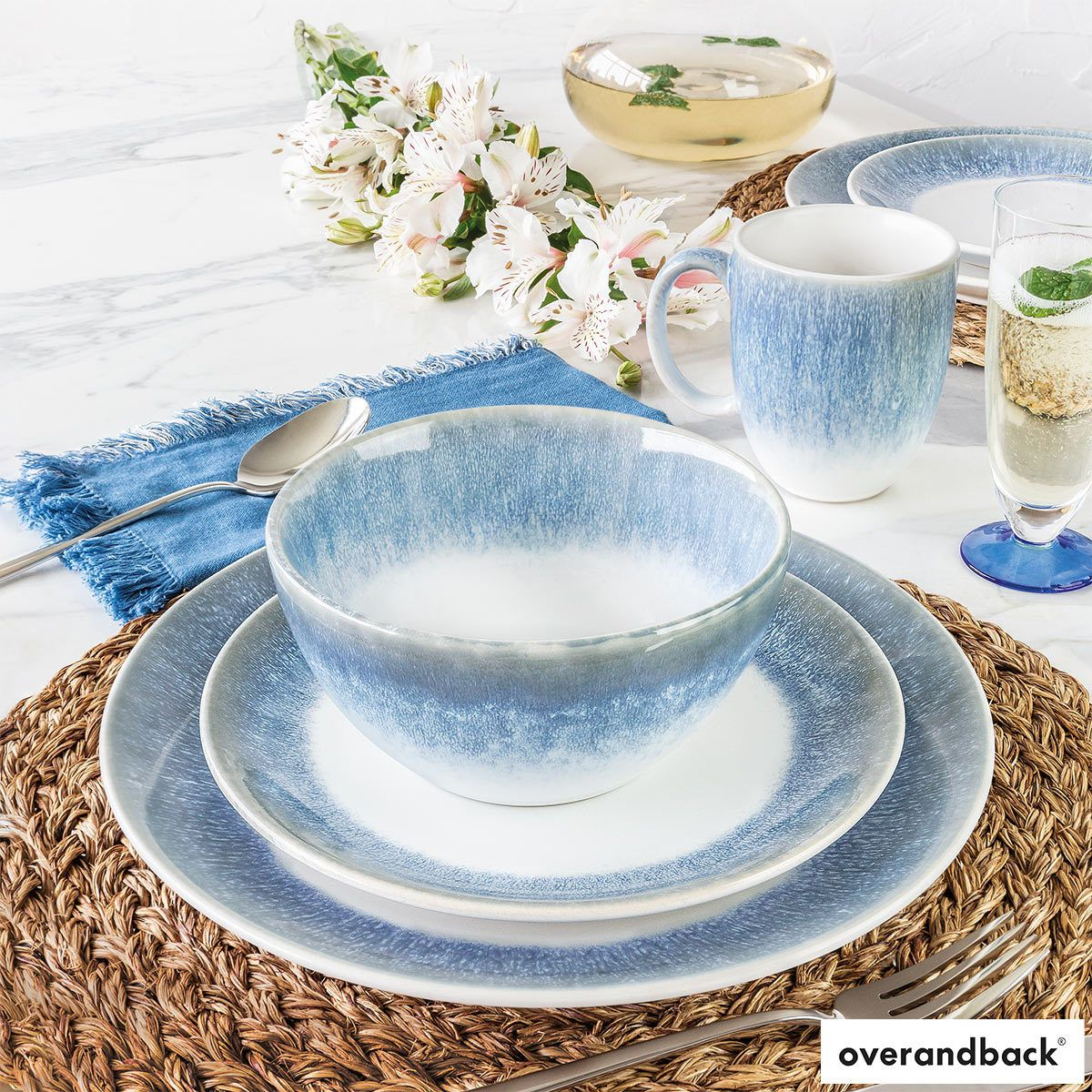 Over & Back Alabaster Stoneware 16 Piece Dinnerware Set in