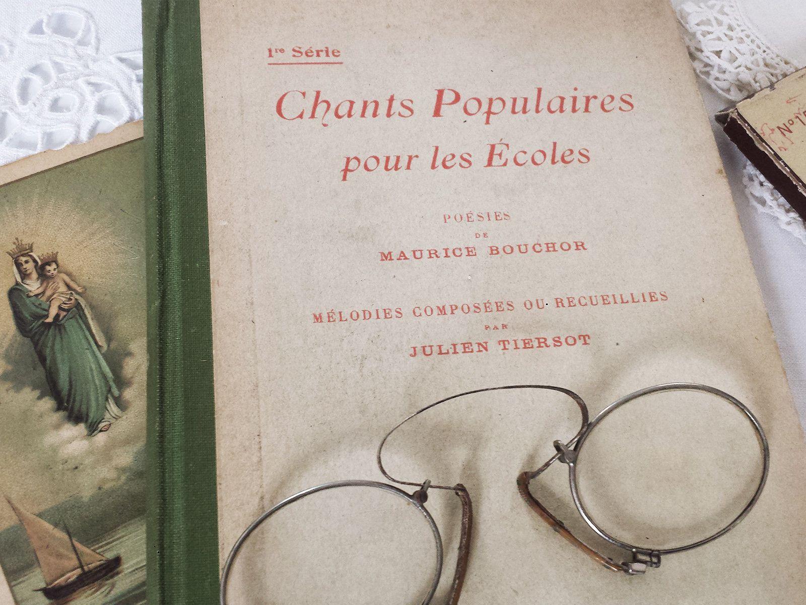 Livre Poesie Chant Vintage 1920 France Recueil Partitions Musique Scolaire Francais Enfant Ecole Ancien Vieux Objet Anti Fete Des Peres Partition Musique Chant
