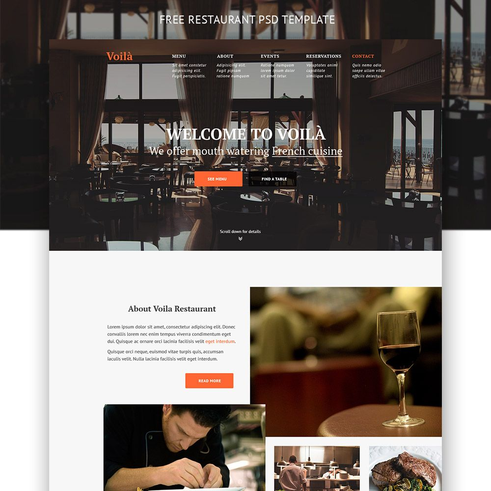 Cool Simple Restaurant Website Template Free PSD. Download Simple ...