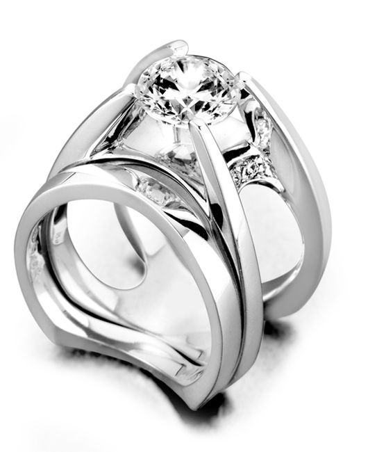 Moonglow Engagement Ring with Wedding Band Mark Schneider Design