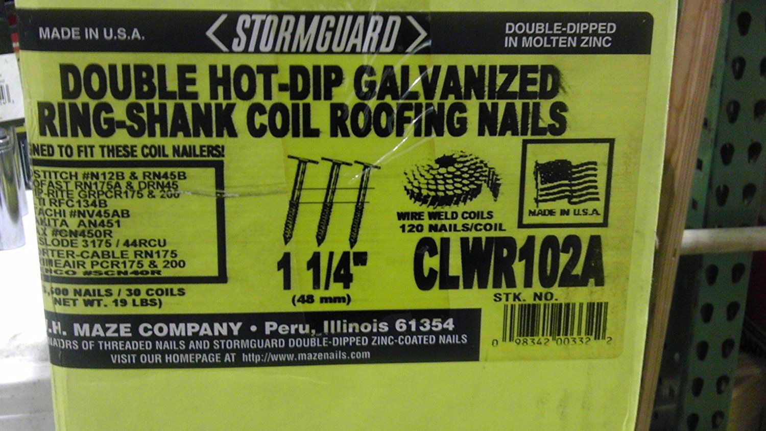 Clwr102a Stormguard Double Hot Dip Galvanized Ring Shank Coil Roofing Nails 1 1 4 3 600 Nails 30 Coils Wire Weld Coils 120 Nai Roofing Nails Hot Dip Roofing