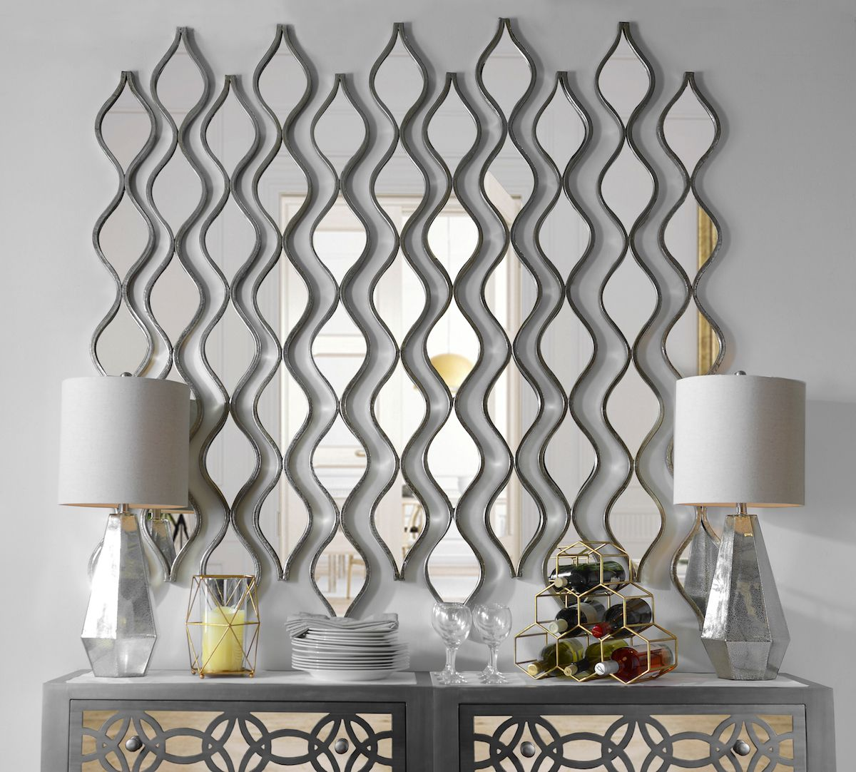 Decorative Wall Mirror Panels : Single silver teardrop panel mirror room